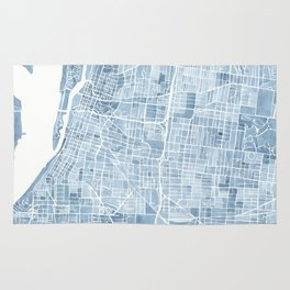Memphis Tennessee blueprint watercolor map Rug