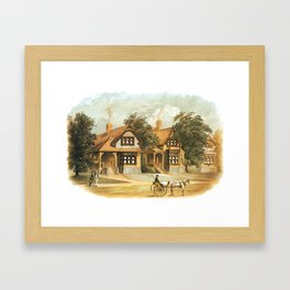 Vintage Victorian Houses illustration, Horse Carriage, Two People with Tennis Rackets Framed Art Print