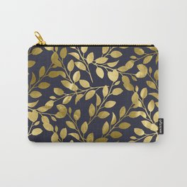 Gold Leaves on Navy Carry-All Pouch