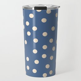 Simply Dots White Gold Sands on Aegean Blue Travel Mug