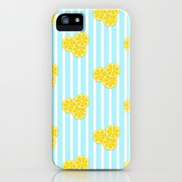 Lemon Slices on Light Blue Stripes iPhone Case