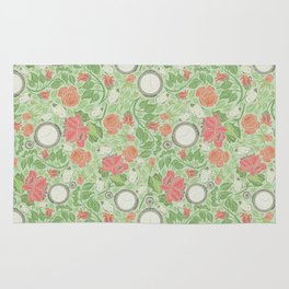 Red roses with pocket watches and butterflies on light green background Rug