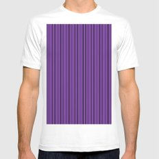Purple Double Stripes Pattern Mens Fitted Tee White MEDIUM