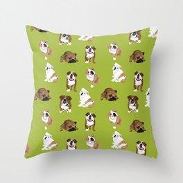 Bulldogs on Moss Throw Pillow