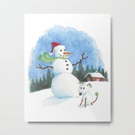 Snowman, Snowdog Metal Print