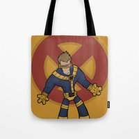 cyclops Tote Bags featuring Cyclops by Twisted Dredz