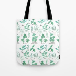 green herbs family watercolor Tote Bag