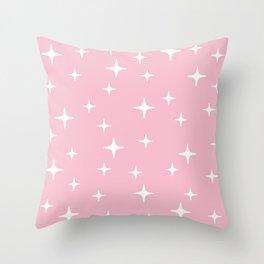 Mid Century Modern Star Pattern 731 Pink Throw Pillow