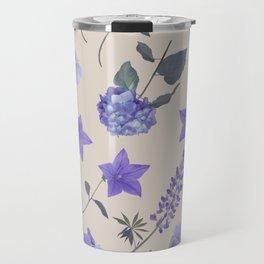 seamless   pattern of blue flowers . Endless texture Travel Mug