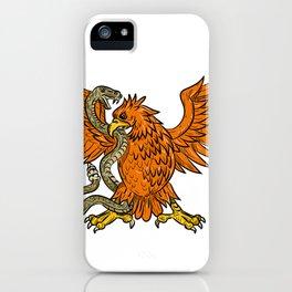 Golden Eagle Grappling Rattlesnake Drawing iPhone Case