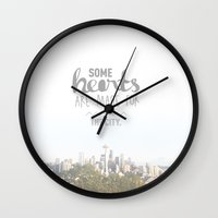 seattle Wall Clocks featuring Seattle  by Casey Lynn Designs