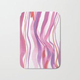 Love Ribbon: Abstract Watercolor Painting Pink and Red and Purple Bath Mat