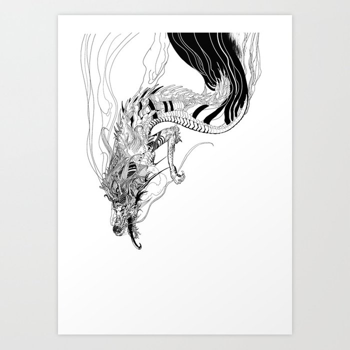 Falling dragon Art Print