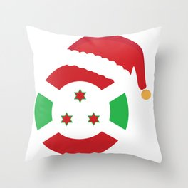 Burundi Christmas sant claus flag designs  Throw Pillow