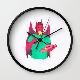 gay bear demon pizza Wall Clock