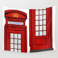 telephone Wall Tapestries featuring Telephone Booth by Maria Lauren Lambiris