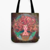 medusa Tote Bags featuring Medusa by Kindra Haugen