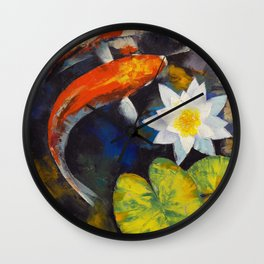 Koi Fish and Water Lily Wall Clock