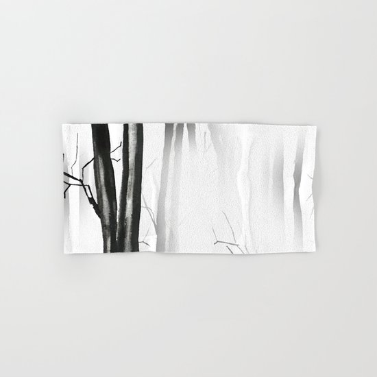 wood, snow and fog Hand & Bath Towel