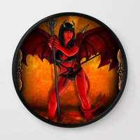 devil Wall Clocks featuring Devil by Joey Gates