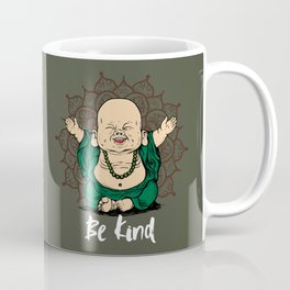 Be Kind Little Buddha Cute Smiling Buddha over mandala Coffee Mug