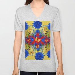 YELLOW GARDEN BLUE  FLOWERS YELLOW BUTTERFLIES PATTERN ART Unisex V-Neck