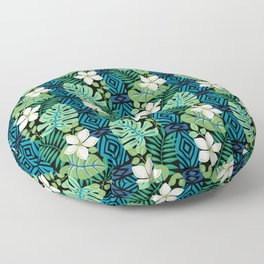 Tropical White Flowers Floor Pillow