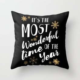 It's the Most Wonderful Time of the Year - Black Throw Pillow
