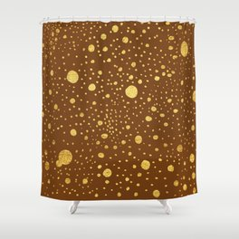 Gold leaf hand drawn dot pattern on brown Shower Curtain