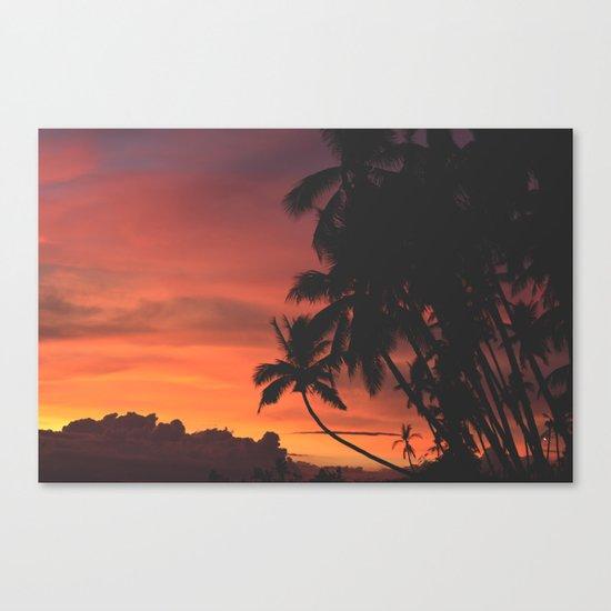 Hawaii Palm Trees Sunset Canvas Print
