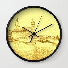 Liver Building from Princes Dock (Digital Art) Wall Clock