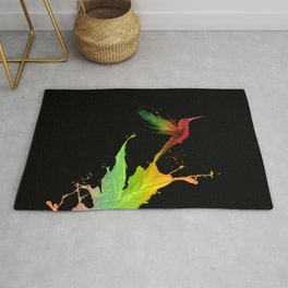 Colors Humming Bird (black bg) Rug