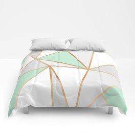Mint Green, Grey & Gold Geo Comforters