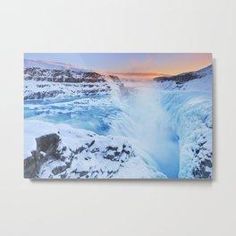 Frozen Gullfoss Falls in Iceland in winter at sunset Metal Print