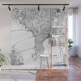 Tampa White Map Wall Mural