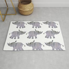 African Black Rhino multi-color purplegray Rug