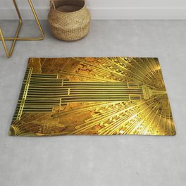 Empire State Building Lobby Art-Deco Sunburst Portrait Rug