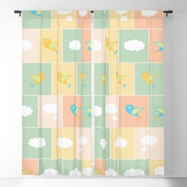 Clouds and birds Blackout Curtain