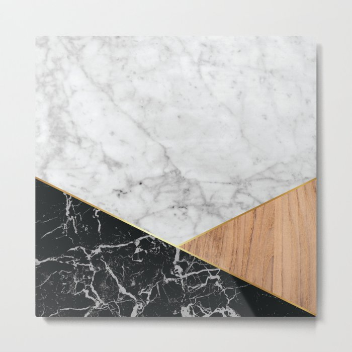 White Marble - Black Granite & Wood #711 Metal Print