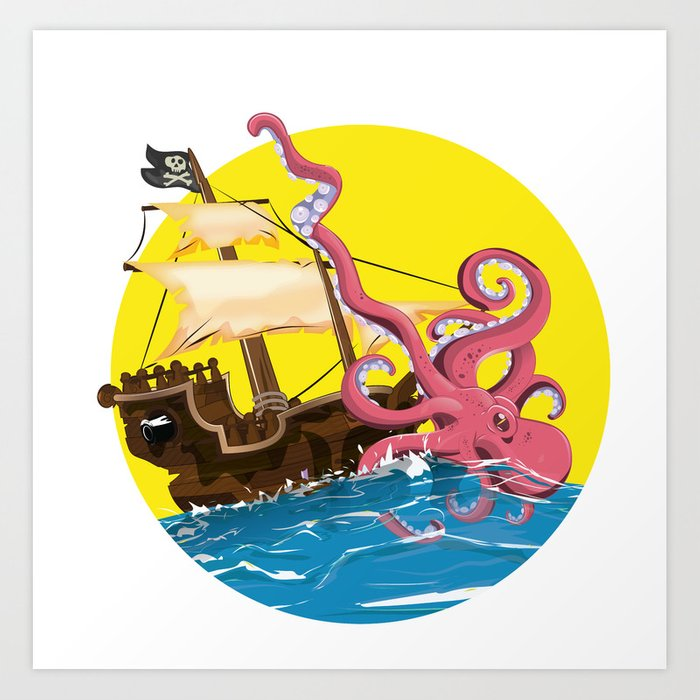 Giant Octopus attacking a cartoon pirate ship. Art Print by ...