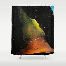 Orange Horizons Discing Shower Curtain