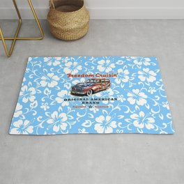 Freedom Crusin' Hawaiian Woody Design - blue colorway Rug