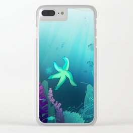 Deep down in the water Clear iPhone Case