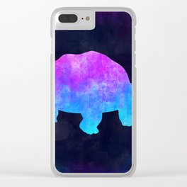 TORTOISE IN SPACE // Animal Graphic Art // Watercolor Canvas Painting // Modern Minimal Cute Clear iPhone Case