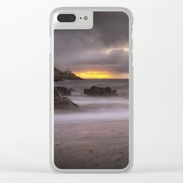 Stormy sunrise at Bracelet Bay Clear iPhone Case