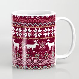 Vintage Christmas Knitted Ugly sweater illustration Pattern. Festive Fair isle Design. Christmas knitted pattern Coffee Mug