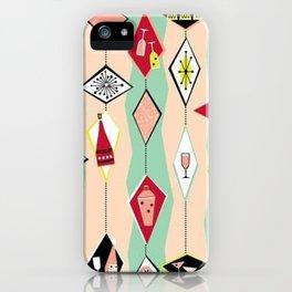 Mid Century Modern, Retro, Martini, Pink,Turquoise, Red Black iPhone Case