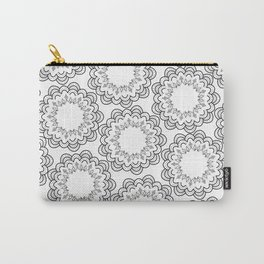 Abstract geometrical black white hand painted mandala Carry-All Pouch