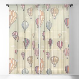 hot air balloon Sheer Curtain