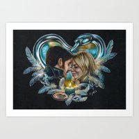 captain swan Art Prints featuring Captain Swan by Svenja Gosen